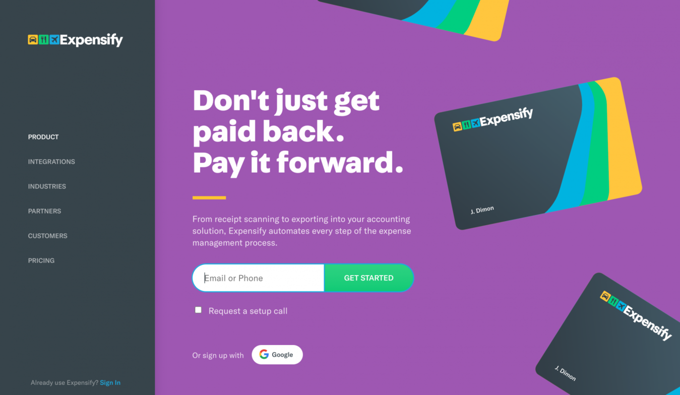 Landing page Expensify