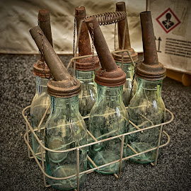 Vintage Oil Cans by Marco Bertamé - Artistic Objects Other Objects ( can, metal, six-pack, glass, rust, oil )