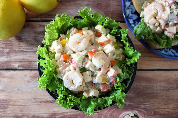 A Bowl Of Savory Summer Seafood Salad.