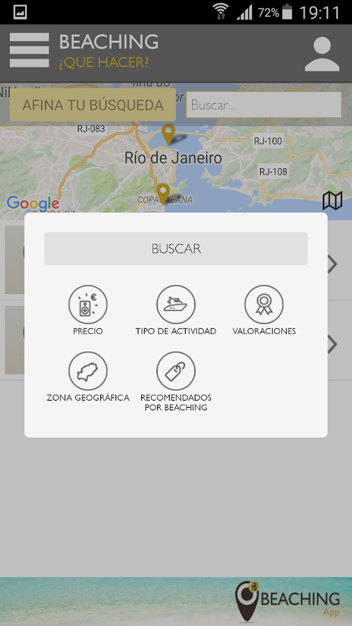 Beaching App RIO- screenshot