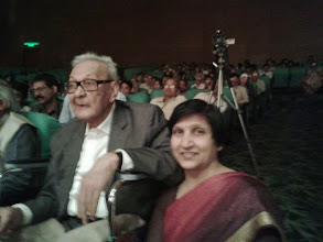 Photo: Eminent artist Syed Haider Raza with Ms. Anita Chhibber at inauguration of 55th National Exhibition of Art, at FICCI auditorium New Delhi, on 19 March 2014.