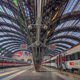 Milan Train Station by G. Stetson - Transportation Railway Tracks ( glass, milan, italy, train )