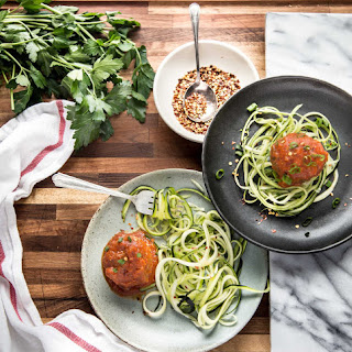 Zpaghetti with Pesto Meatballs.