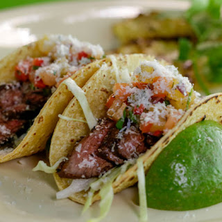 Josh Capon's Skirt Steak Tacos with Charred Pineapple.