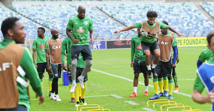 Sifiso Hlanti and Keagan Dolly doing the drills during the South Africa training session at Moses Mabhida Stadium on the 6 September 2018.