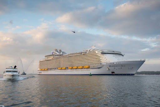 harmony-of-seas-in-southampton.jpg - Harmony of the Seas, the largest cruise ship ever built, features multistory waterslides, virtual balconies, FlowRider, Bionic Bar and WOWbands.