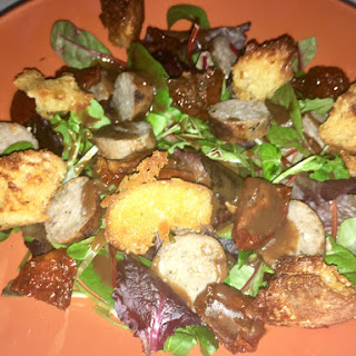 Leftover Sausage and Sun Dried Tomato Salad with Parmesan Croutons and a Brown Sauce Dressing.