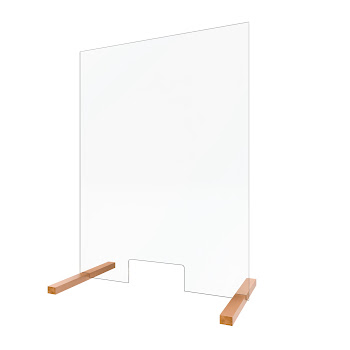 Vitre de protection en verre, 75 x 100 cm, vitre de protection antivirus avec passe-document