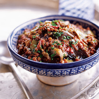Eggplant and Lentil Stew with Pomegranate Molasses.
