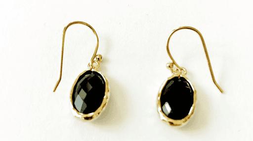 Boucles d'oreilles pierres fines cristal oval noir