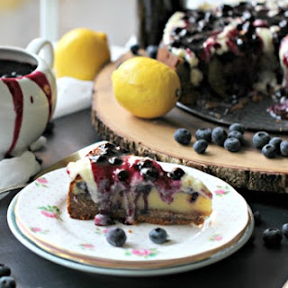 French Custard Cake with Blueberries and a Biscoff Crust.