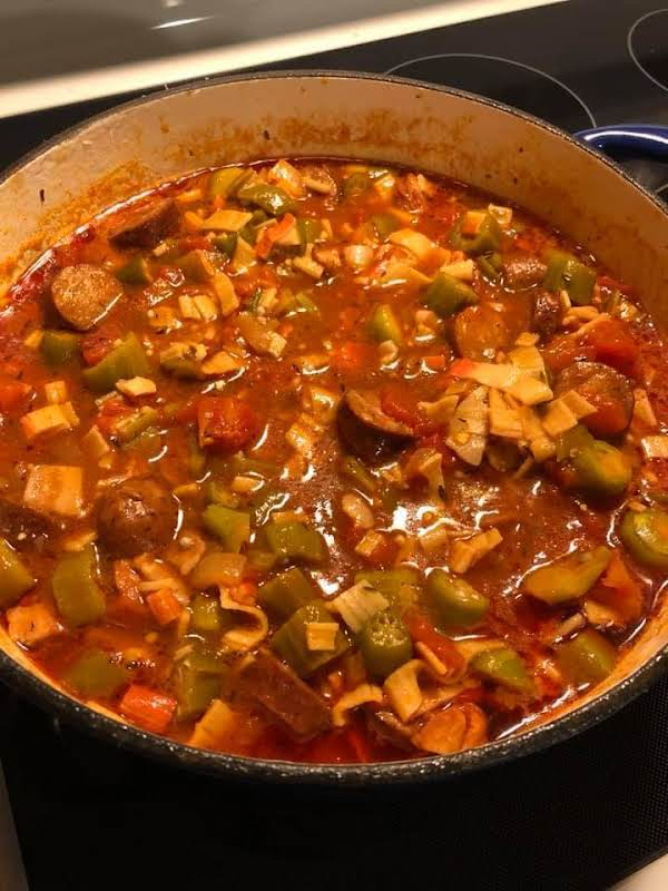 """Just In Time For Mardi Gras! Faux Gumbo Because It Doesn't Have Filet """"feelay"""" Seasoning And No Roux, But The Flavors Are Spot On."""