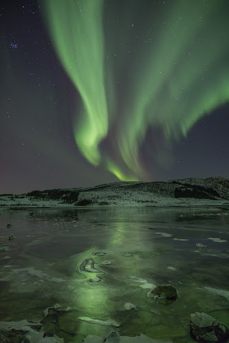 Aurora borealis green by Benny Høynes - Abstract Light Painting ( canon, reflection, ice, northern lights, aurora borealis, sea, landscapes, norway,  )