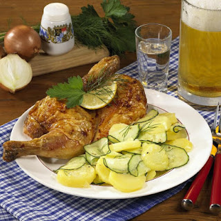 Roast Chicken with Warm Cucumber, Potato and Dill Salad.