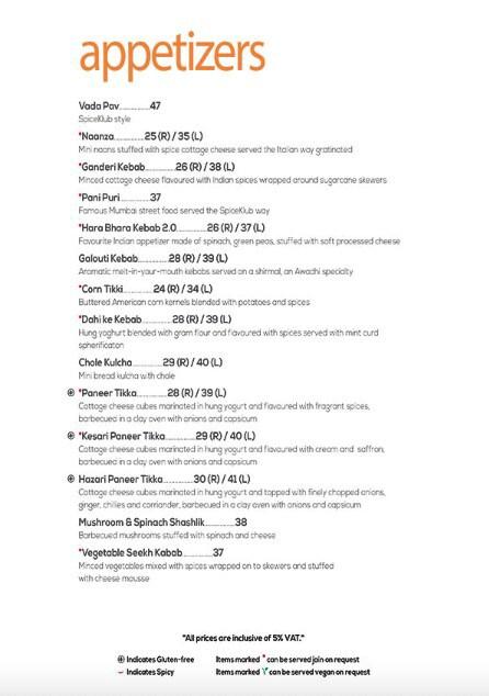 SpiceKlub menu 6