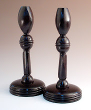 "Photo: Bill Autry - Multi-axis Candlesticks - 12"" x 6"" - ebonized utile (sipo) - note opposing rotations both within each piece and between pieces - inspired by Barbara Dill demo"