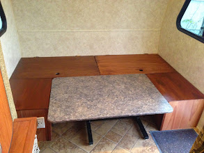 Photo: Dinette Mod:Original table can still fit between benches to be used for the bed. Will need to make new taller back rest cushions for the big bench to be able to have enough cushions for 2 people to sleep in this space.