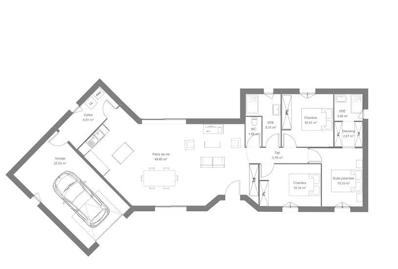 Vente Terrain + Maison - Terrain : 1850m² - Maison : 104m² à Saint-Just-le-Martel (87590)