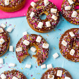 Chocolate S'mores Baked Doughnuts.