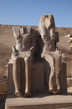 Photo: Medinat Habu, third hypostyle hall - Amonhotep III and Maat ?, taken from the Amenhotep temple