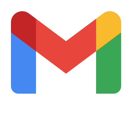 Google Mail (GMail) logo with blue, red, orange, yellow and green forming an M.