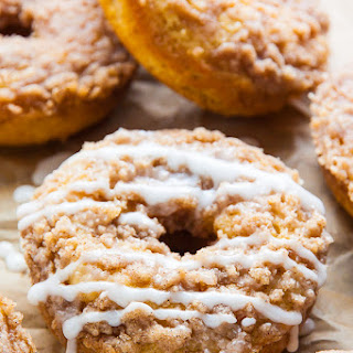 Coffee Cake Donuts with Vanilla Glaze