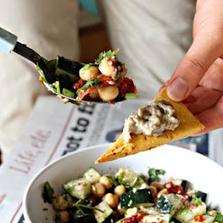 Mediterranean Chickpea Salad + Homemade Pita Chips (GF, Vegan, Grain-Free, Dairy-Free)