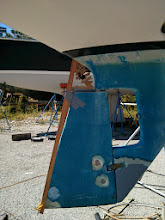 "Photo: Using 1/8"" plywood and hot glue to crate a template for the rudder addition"