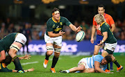 Francois Louw of South Africa during the Rugby Championship match between South Africa and Argentina at Jonsson Kings Park on August 18, 2018 in Durban, South Africa.