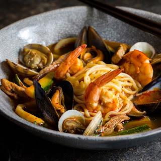 Jjamppong (Korean Spicy Seafood Noodle Soup).