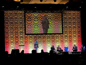 Ben Scragg speaking during a campfire chat on the OLC Innovate big stage.