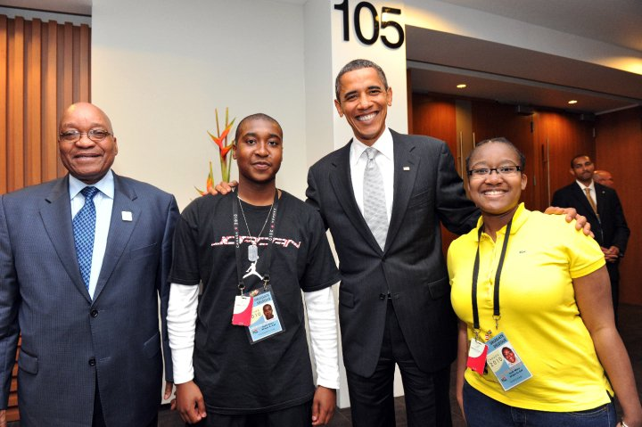 The late Vusi Zuma with his father, Jacob Zuma, and former US president Barack Obama. Vusi's funeral took place on Saturday.