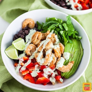 Mexican Rice Bowl with Shrimp.