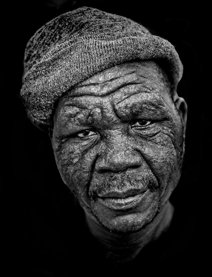 Bibo by Jan Van Heerden - People Street & Candids ( street black and white, homeless., car park assistant., candid )