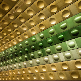 Prague Subway by John  Pemberton - Buildings & Architecture Other Interior ( abstract, subway, green, architecture, prague )