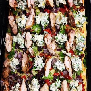 Deep Dish Sourdough Crispy Chicken and Veg Pizza with Artichoke & Spinach Crema