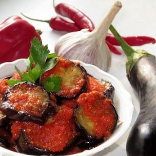 Fried Eggplants in a Pepper-Garlic Sauce.