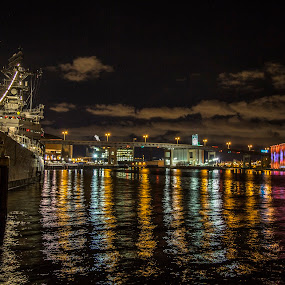 Canalside to Outer Harbor ~Buffalo, NY by John Witt - City,  Street & Park  Night ( buffalo ny, buffalo waterfront, canalside, outer harbor, night waterfront )