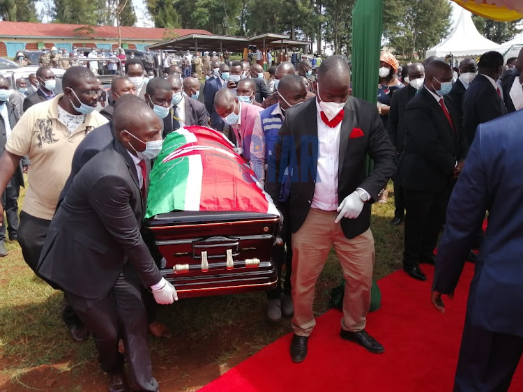 Governor John Nyagarama's body arrives at Nyamira Primary School grounds ahead of the burial service on December 24, 2020.