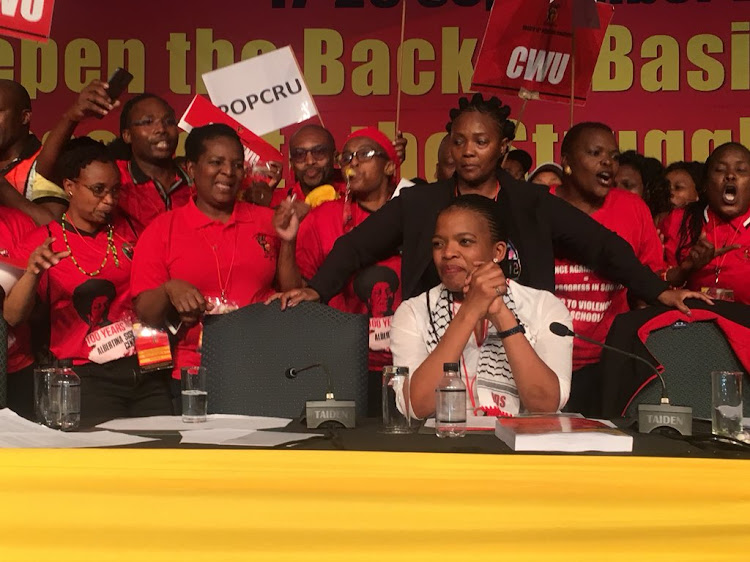 Singing, crying, women besides themselves with joy at the election of Zingiswa Losi as Cosatu president on September 20 2018. Picture: THETO MAHLAKOANA