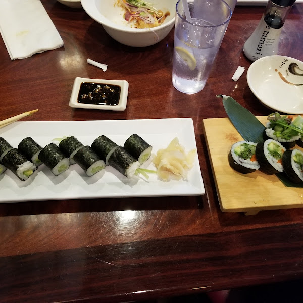 Cucumber rolls, avocado rolls and veggie combo roll with Tamari soy sauce.