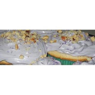 White Cakes w/ Purple Espresso Frosting