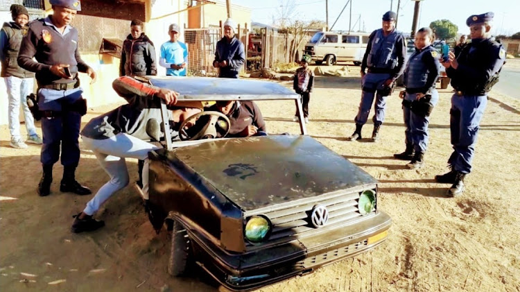 Obakeng Thetele, 18, from Bloemfontein has built a car