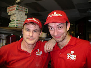 Photo: I`m here with Victor, from Bulgaria.  I taught him how to shread and mix my unique 4 cheese  blend of pizza cheeses.
