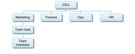 Organizational chart showing employee titles