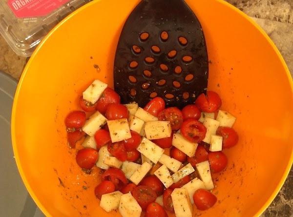 Add cubed mozzarella.  Mix well.