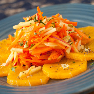 Carrot, Apple and Orange Salad with Ginger Dressing.