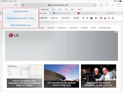 Lưu tất cả tab mở trong Safari trên iPhone và iPad thành bookmarks