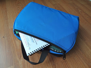 Photo: Bottom zipper pouch stores log & Nifty guide