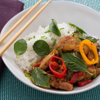 Stir-Fried Ginger-Basil Chicken with Tinkerbell Peppers & Coconut Rice.